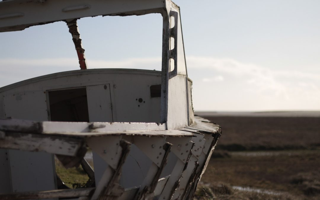 Wrecked Boat Illustrates the Law of Entropy
